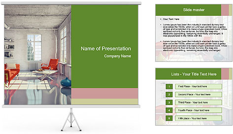 Red And White Room PowerPoint Template