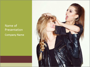 Models Wearing Black Leather Clothes PowerPoint Template