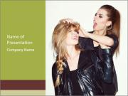 Models Wearing Black Leather Clothes PowerPoint Templates