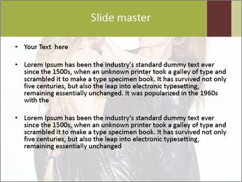 Models Wearing Black Leather Clothes PowerPoint Templates - Slide 2