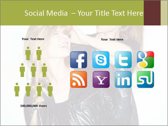 Models Wearing Black Leather Clothes PowerPoint Templates - Slide 5