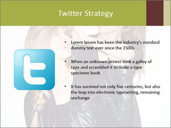Models Wearing Black Leather Clothes PowerPoint Templates - Slide 9