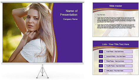 Glamorous Blond Model PowerPoint Template