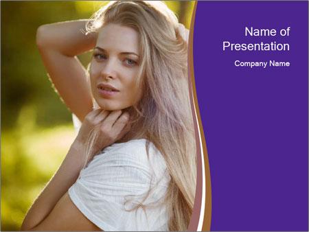 Glamorous Blond Model PowerPoint Templates