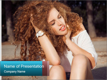 Redhead Woman PowerPoint Templates - Slide 1