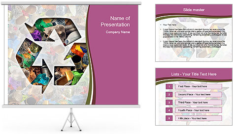 Bright Recycling Sign PowerPoint Template