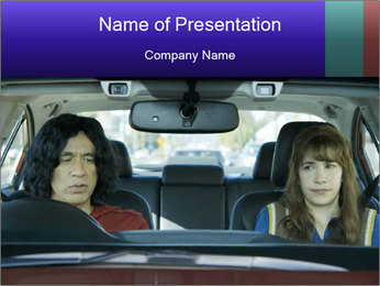 Mother And Daughter In Car PowerPoint Template