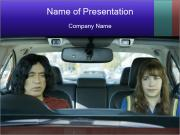 Mother And Daughter In Car PowerPoint Templates