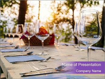 Huge Dinner Table Outside PowerPoint Template - Slide 1