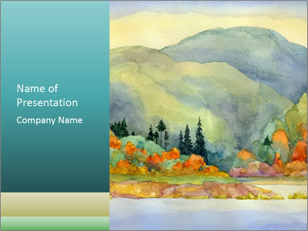 Colorful Landscape Painting PowerPoint Template & Backgrounds ID ...