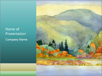 Colorful Landscape Painting PowerPoint Template - Slide 1