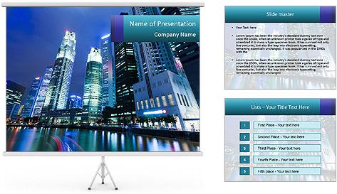 Illuminated Singapore PowerPoint Template