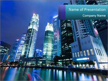 Illuminated Singapore PowerPoint Template - Slide 1