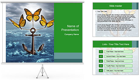 Butterflies And Anchor PowerPoint Template