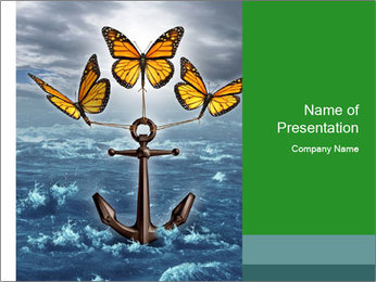 Butterflies And Anchor PowerPoint Template - Slide 1