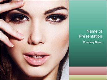 Woman With Natural Makeup PowerPoint Template