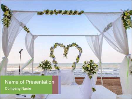 Wedding Decor On Beach PowerPoint Template