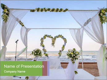 Wedding Decor On Beach PowerPoint Template - Slide 1