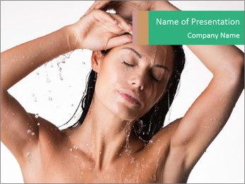 Sensual Woman In Bathroom PowerPoint Template - Slide 1
