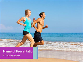 Couple Jogging On Beach PowerPoint Template