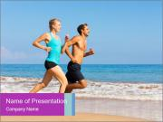 Couple Jogging On Beach PowerPoint Templates