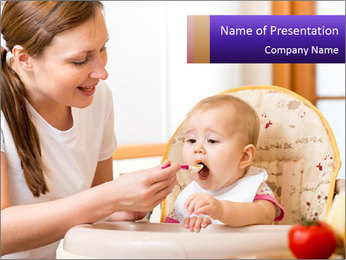 Baby Eating Time PowerPoint Template - Slide 1