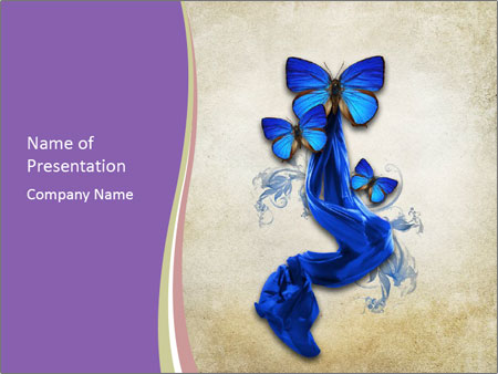 Blue Butterfly Drawing PowerPoint Templates