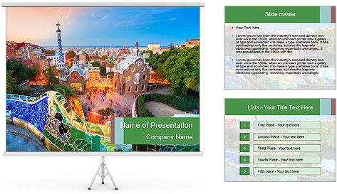 Spanish Gaudi Building PowerPoint Template