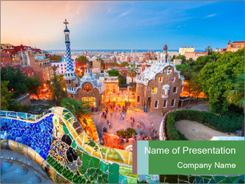 Spanish Gaudi Building PowerPoint Template