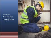 Caucasian Workers PowerPoint Template