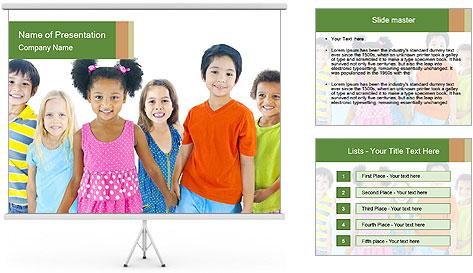Primary Schoolchildren PowerPoint Template