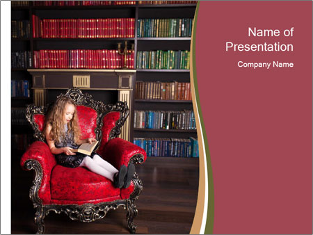Girl Reading In Red Armchair PowerPoint Templates