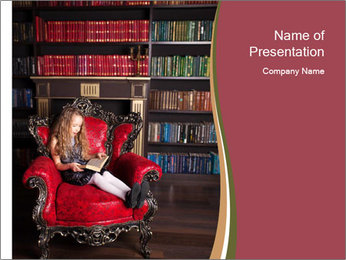 Girl Reading In Red Armchair PowerPoint Template