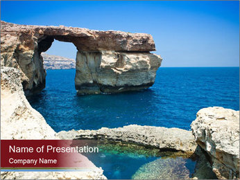 Sea And Rocks PowerPoint Template - Slide 1