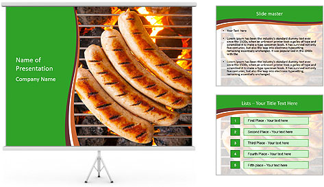 Grilled German Sausages PowerPoint Template