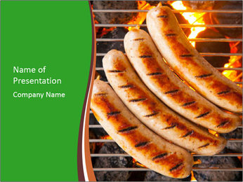 Grilled German Sausages PowerPoint Template - Slide 1