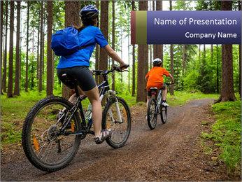 Biking In Forest PowerPoint Template - Slide 1