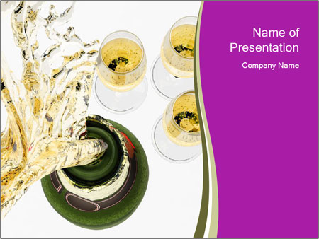 Celebration With Champagne PowerPoint Template