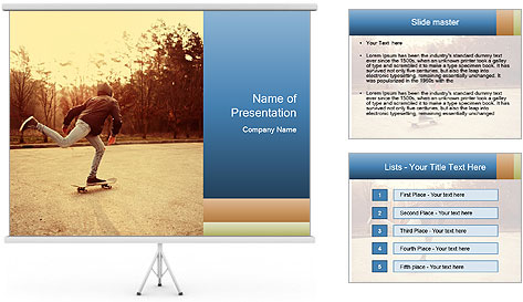 Hipster On Skateboard PowerPoint Template