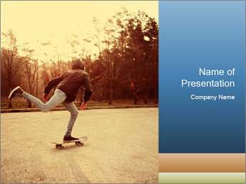 Hipster On Skateboard PowerPoint Template - Slide 1