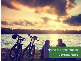 Friends At Seaside PowerPoint Template - Slide 1