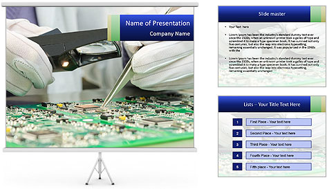 Man Working With Microchip PowerPoint Template