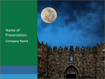 Full Moon And Castle PowerPoint Template - Slide 1