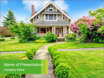 American dream. Beautiful house and green lawn. PowerPoint Template - Slide 1