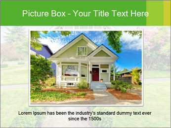 American dream. Beautiful house and green lawn. PowerPoint Template - Slide 15
