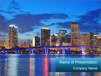 USA Metropolitan City At Night PowerPoint Template - Slide 1