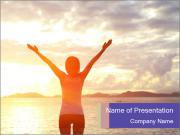 Woman Meeting Sunset PowerPoint Templates