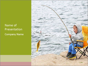 Small Boy Fishing PowerPoint Template - Slide 1