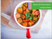 Healthy food. Sliced carrots with herbs. PowerPoint Template