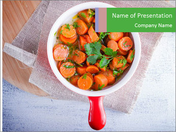Healthy food. Sliced carrots with herbs. PowerPoint Template - Slide 1